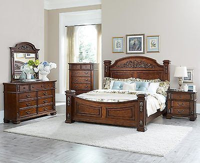 FIT FOR A MANSION 4 PC KING BED N/S DRESSER & MIRROR BEDROOM FURNITURE SET