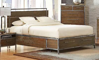 TRENDY INDUSTRIAL STYLE  METAL & WOOD KING BED BEDROOM FURNITURE