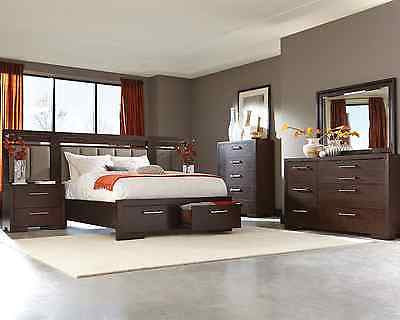 COOL KING STORAGE BED W/ LED HEADBOARD LIGHTS NIGHTSTANDS BEDROOM FURNITURE