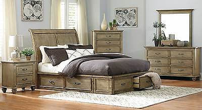 4 PC DRIFTWOOD FINISH SLEIGH PLATFORM KING BED DRESSER & MIRROR BEDROOM SET
