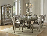 SENSATIONAL SILVER FINISH TAUPE FABRIC DINING TABLE 6 CHAIRS FURNITURE SET