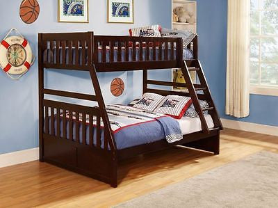 CHERRY FINISH YOUTH TWIN OVER FULL BUNK BED WITH TRUNDLE BEDROOM FURNITURE SET