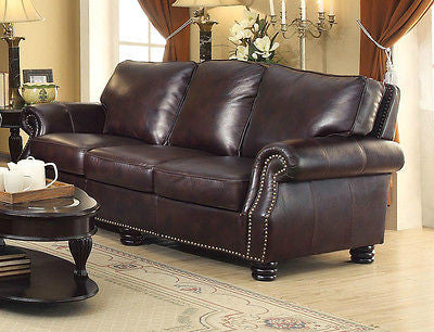 CLASSY 100% GENUINE TOBACCO BROWN LEATHER NAIL HEAD SOFA LIVING ROOM FURNITURE