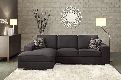 STYLISH BLACK LINEN LIKE FABRIC SOFA SECTIONAL CHAISE LIVING ROOM FURNITURE