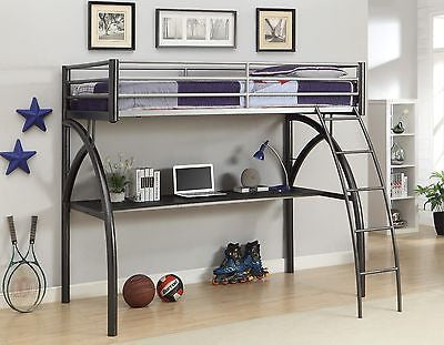 COOL CONTEMPORARY METAL TWIN LOFT BED & WORKSTATION BEDROOM FURNITURE SET