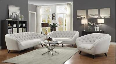 RETRO MID CENTURY SILVER LINEN LIKE SOFA & LOVE SEAT LIVING ROOM FURNITURE SET