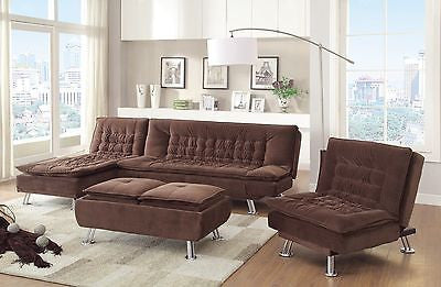 MODERN BROWN MICRO VELVET SOFA BED CHAISE CHAIR & OTTOMAN FURNITURE SET