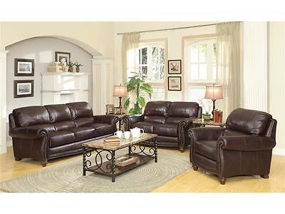 SUMPTUOUS TOP GRAIN BURGUNDY BROWN LEATHER SOFA & LOVESEAT FURNITURE SET