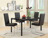 MODERN BLACK CHROME & GLASS DINING TABLE CHAIRS DINING ROOM FURNITURE SET