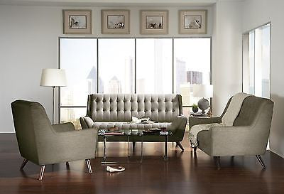 RETRO DOVE GREY GRAY CHENILLE SOFA LOVESEAT CHAIR LIVING ROOM FURNITURE SET