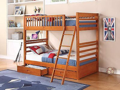 HONEY OAK FINISH TWIN OVER FULL YOUTH BUNK BED STORAGE BEDROOM FURNITURE SET