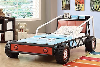SUPER COOL BOY'S YOUTH RACE CAR WITH MOLDED WHEELS TWIN BED BEDROOM FURNITURE