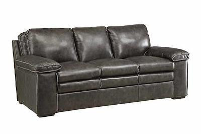 CHARCOAL GRAY GREY TOP GRAIN LEATHER SOFA W/ BASEBALL STITCHING FURNITURE
