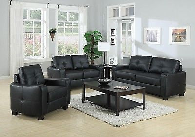 MODERN 3 PC BLACK BONDED LEATHER SOFA, LOVE SEAT & CHAIR LIVING ROOM FURNITURE