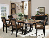 RUSTIC NATURAL WOOD & BLACK TRESTLE TABLE & BOMBER JACKET CHAIRS DINING SET