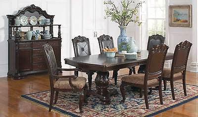 ELEGANT TRADITIONAL FORMAL DINING TABLE & 6 CHAIRS DINING ROOM FURNITURE SET