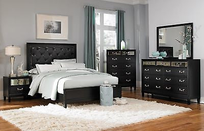 4 PC BLACK TUFTED QUEEN BED NS DRESSER & MIRROR FURNITURE SET W/ MIRRORED PANELS