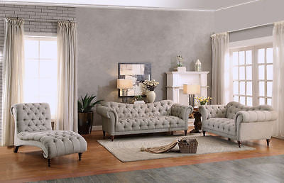 BUTTON TUFTED ALMOND BROWN HERRINGBONE LINEN SOFA LOVE SEAT CHAISE FURNITURE SET