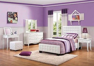 TRENDY TUFTED WHITE VINYL TWIN YOUTH BED N/S DRESSER MIRROR VANITY FURNITURE SET
