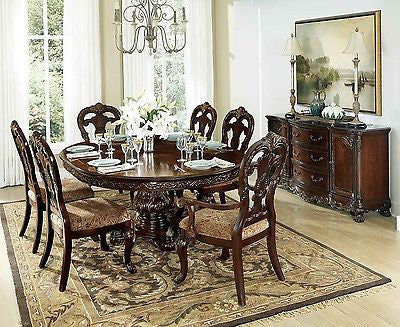 EXQUISITE ROUND AND/OR OVAL DINING TABLE & 6 CHAIRS DINING ROOM FURNITURE SET
