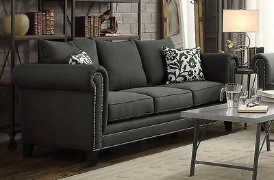 TRADITIONAL CHARCOAL GRAY GREY ROLLED ARM LINEN BLEND SOFA LIVINGROOM FURNITURE
