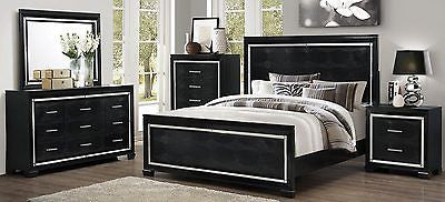 EXOTIC LEATHERETTE 5 PC QUEEN BED N/S DRESSER MIRROR CHEST BEDROOM FURNITURE SET