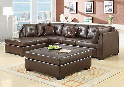 COOL CONTEMPORARY BROWN LEATHER SOFA SECTIONAL LIVING ROOM FURNITURE SET