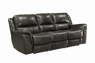 TOP GRAIN LEATHER CHARCOAL GRAY GREY RECLINING SOFA LIVING ROOM FURNITURE