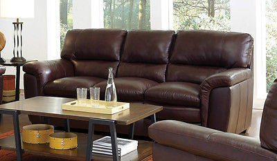 CAPPUCCINO BROWN TOP GRAIN & LEATHER MATCH SOFA LIVING ROOM FURNITURE