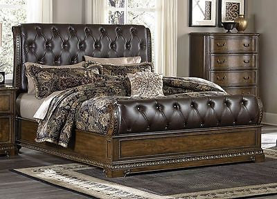 SLEEK BUTTON TUFTED DARK BROWN LEATHERETTE KING BED BEDROOM FURNITURE