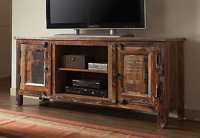 ARTSY & RUSTIC RECLAIMED WOOD FINISH TV CONSOLE ENTERTAINMENT STAND WITH STORAGE