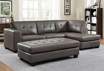 LUXURIOUS LEATHER GRAY GREY SOFA CHAISE SECTIONAL & OTTOMAN SET