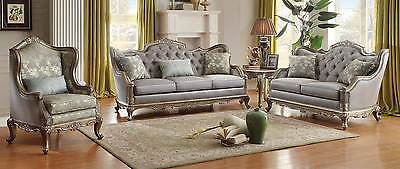 SENSATIONAL FAUX SILK TAUPE TRADITIONAL TUFTED SOFA & LOVE SEAT FURNITURE SET