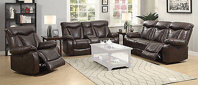 CASUAL BROWN LEATHERETTE RECLINING MOTION SOFA & LOVESEAT FURNITURE SET