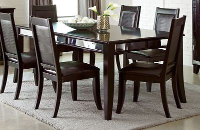 SLEEK CAPPUCCINO CROCODILE LEATHERETTE DINING TABLE & CHAIRS FURNITURE SET