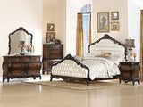 STUNNING 4 PC PEARL WHITE TUFTED QUEEN BED N/S DRESSER MIRROR FURNITURE SET
