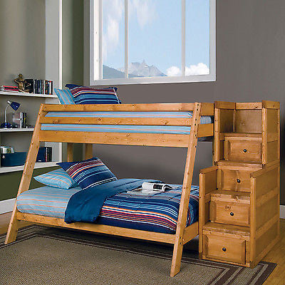 SOLID PINE TWIN OVER FULL YOUTH BUNK BED & STAIRWAY CHEST BEDROOM FURNITURE