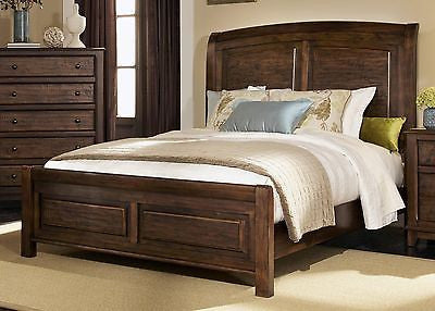RUSTIC DISTRESSED WOOD QUEEN SLEIGH BED BEDROOM FURNITURE