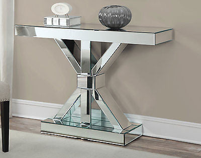 MOD BOW SHAPED MIRRORED CONSOLE SOFA TABLE CABINET FURNITURE CHEST