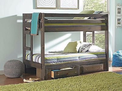 PINE GUN SMOKE FINISH TWIN BUNK BED & UNDER BED STORAGE BEDROOM FURNITURE SET