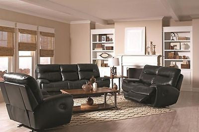 BLACK TOP GRAIN LEATHER MATCH RECLINING MOTION SOFA & LOVE SEAT FURNITURE SET