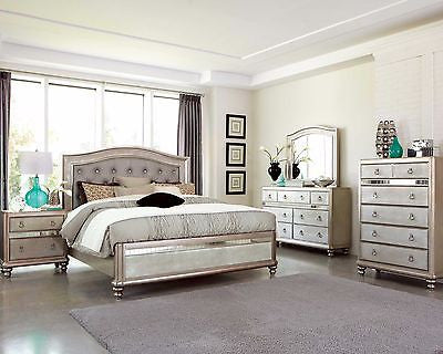 GLAMOROUS METALLIC PLATINUM QUEEN MIRRORED BED N/S DRESSER MIRROR FURNITURE SET