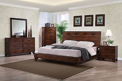TWO TONE 4 PC HAND STITCHED DESIGN KING PLATFORM BED N/S DRESSER FURNITURE SET