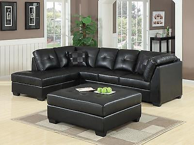 COOL CONTEMPORARY BLACK LEATHER SOFA SECTIONAL LIVING ROOM FURNITURE SET