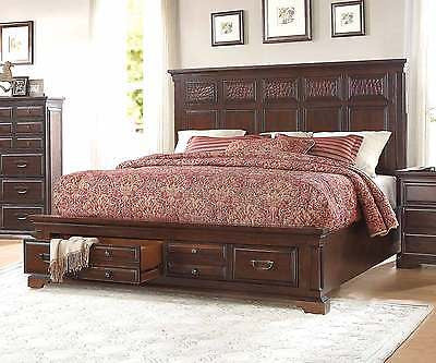 CHERRY FINISH FAUX CROCODILE QUEEN PLATFORM STORAGE BED BEDROOM FURNITURE
