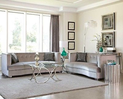 SLEEK SILVER GRAY GREY VELVET SOFA & LOVESEAT LIVING ROOM FURNITURE SET