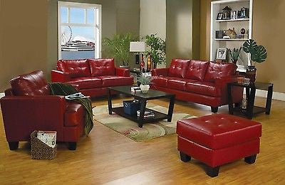 RED BONDED LEATHER SOFA LOVESEAT & CHAIR LIVINGROOM FURNITURE SET