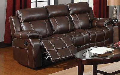 BROWN BONDED BASEBALL STITCH LEATHER RECLINING MOTION SOFA LIVING ROOM FURNITURE