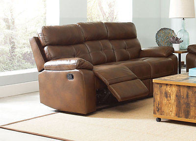 CLASSY BROWN LEATHERETTE RECLINING MOTION SOFA LIVING ROOM FURNITURE