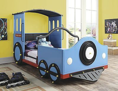 COOL LIGHT BLUE LOCOMOTIVE TRAIN SHAPED YOUTH TWIN BED BEDROOM FURNITURE